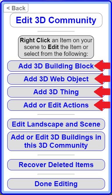 Edit 3D Community Menu Options