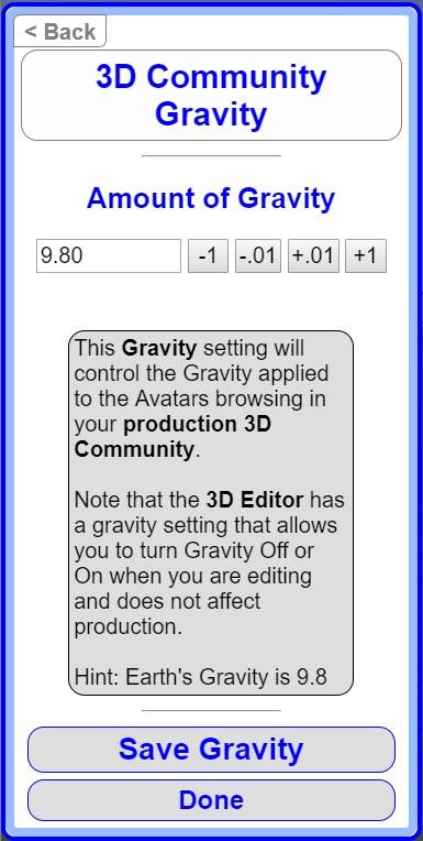 Edit 3D Community Gravity