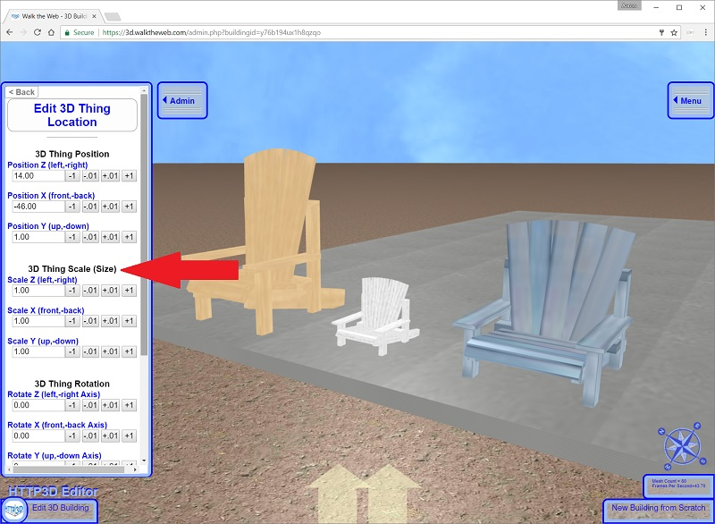 Blue Chair - Scale Settings