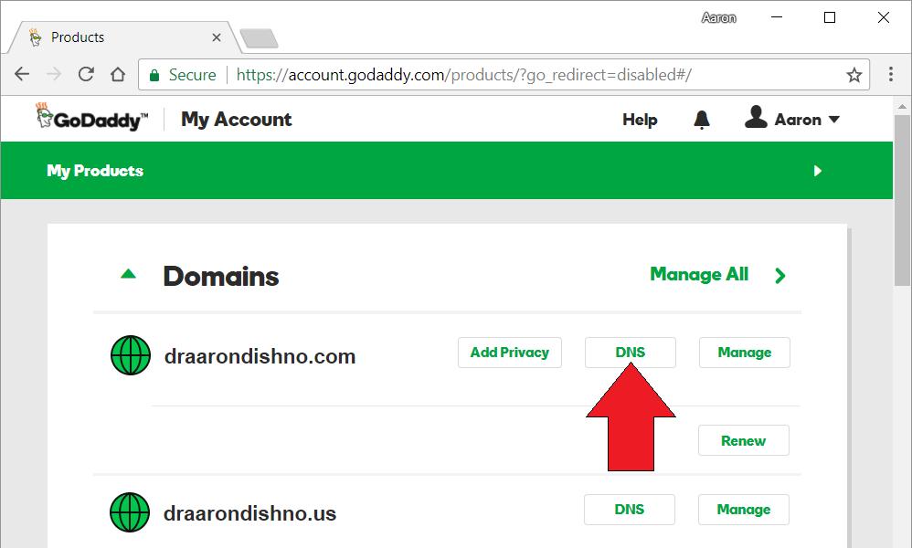 GoDaddy DNS Settings