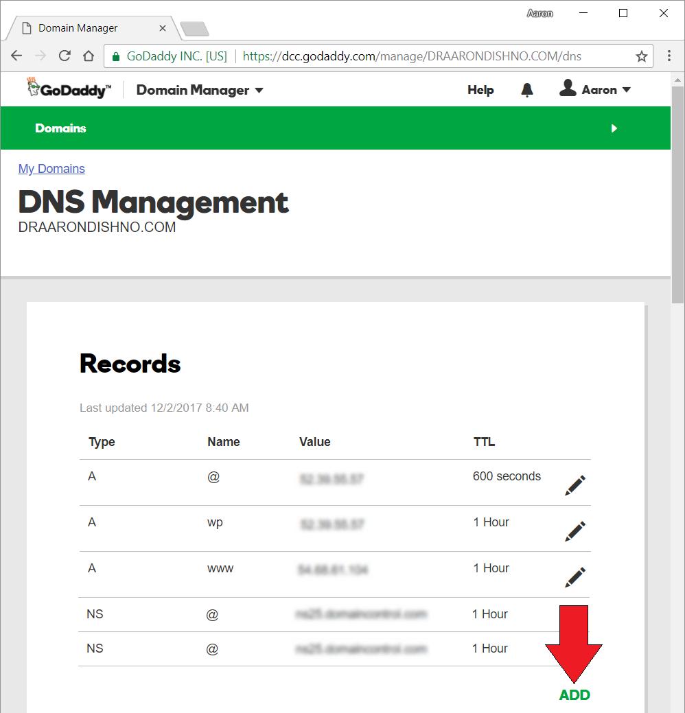 GoDaddy DNS List